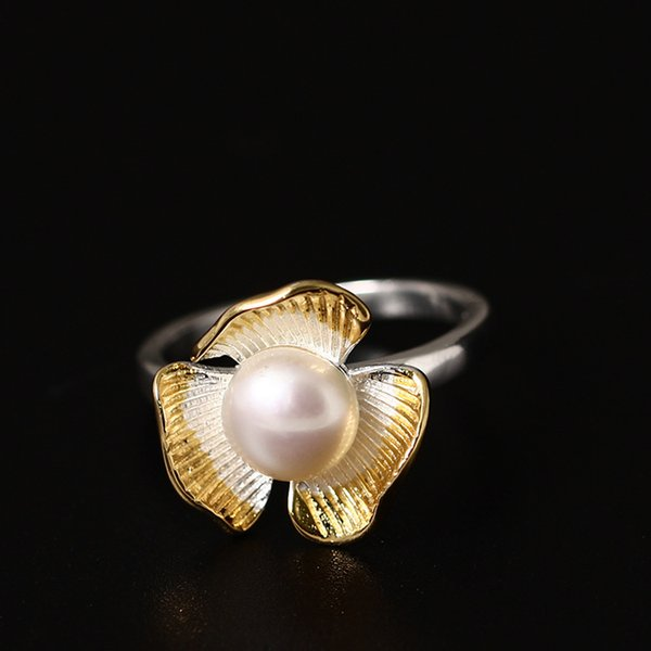 Charm fashion jewelry 925 sterling silver ring Gold pearl ring Three leaf flowers can adjust the ring sterling silver jewelry china direct