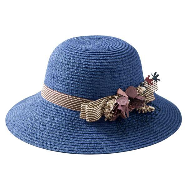 Women Boho Straw Sun Hat Flower Lace Decoration Foldable Wide Brim Floppy Beach Summer Cap