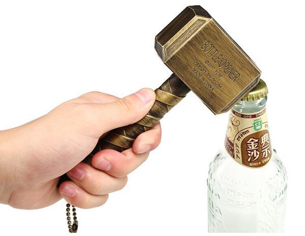 Kreative Thor Hammer Flaschenöffner Bar Wein Bier Öffner Silber Braun Farbe Home Party Utility Gadgets Weihnachtsgeschenk