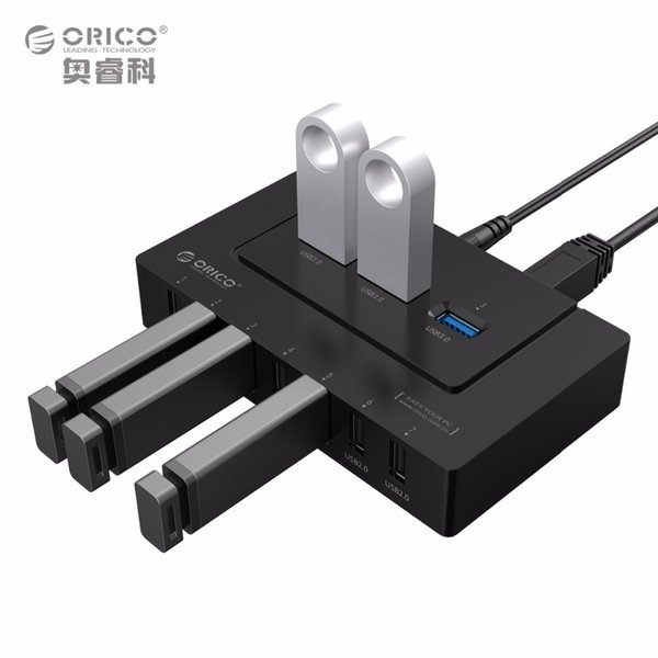 ORICO USB 2.0/3.0 HUB 10 Ports USB HUB 5Gbps Power Adapter High Speed Splitter Adapter for PC LaptopNotebook-Black(H9910-U3)