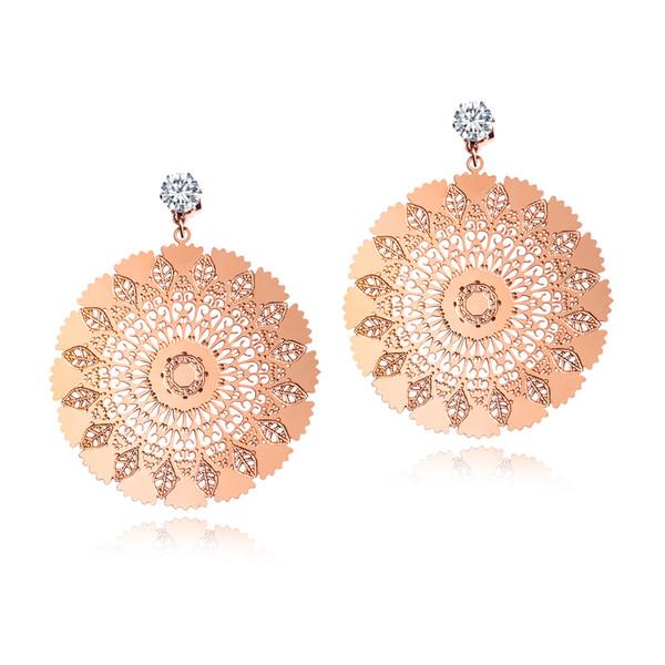 Elegant Women's Rose Gold Plated Earrings Peacock Screen Stainless Steel Five-Stud Earrings Nickle Free Hypoallergenic for Ear Jewelry Gift