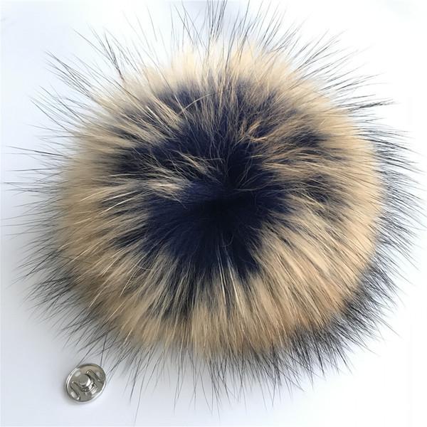 "50pcs 15cm/6"" Blue/Brown - Real Raccoon Fur PomPom Ball For Hat Cap Coat Shoes Accessaries w Button"