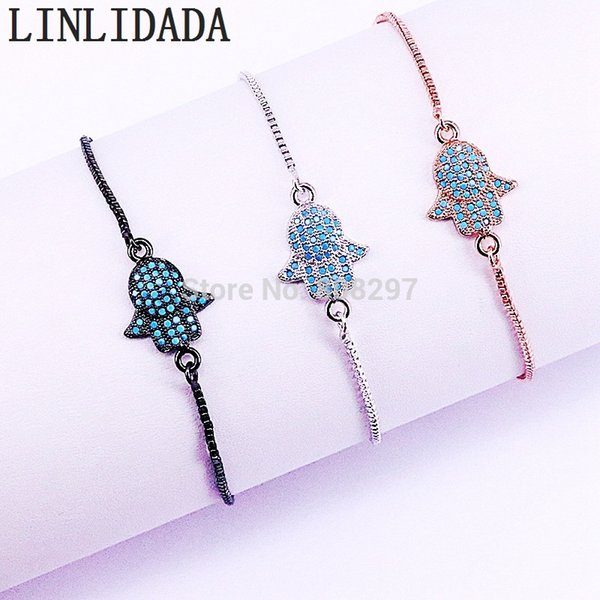 New 10Pcs Fashion Charm Jewelry Micro Pave Blue CZ Hamsa Hand Connector Bracelet for Women Girls Gifts