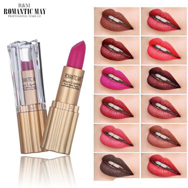 New Clover ROMANTIC MAY Red Waterproof Matte Velvet Lipstick Cosmetic Long Lasting Lip Tint Pigment Makeup Nude Brown Lipstick Lip Balm Lips