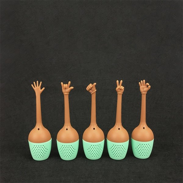 Funny Hand Gestures Tea Tool 5 Pieces In One Set Silicone Tea Strainers Herb Loose Leaf Filter Tea Bags 5fl X