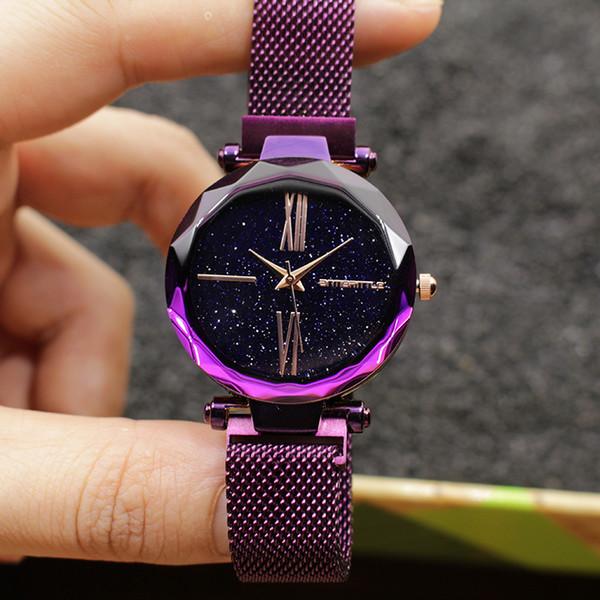 7dcb1a2e3d75 Lujo Japón Cuarzo Cielo Estrellado Imán Reloj Púrpura Cristal de Cristal  Romano Rosa de Oro Negro