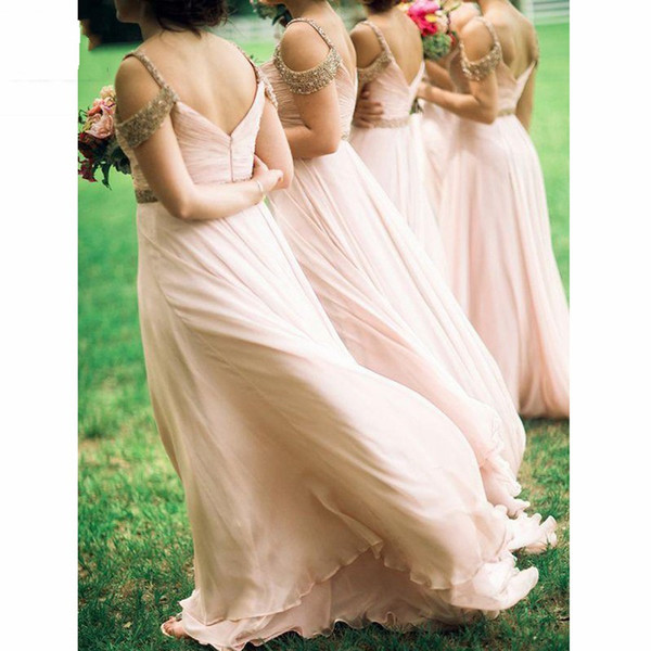 Beading Sequins Bridesmaid Dresses Cheap Cold Shoulder Backless Draped Long 30D Chiffon Party Dress Formal Gowns Maid Of Honor Gown Vestido