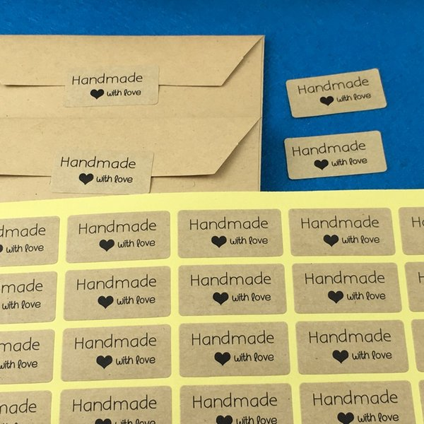 "2000PCS 4*2cm Kraft Sticker Labels ""Hand made with love"" stickers Paper Packaging Self-Adhesive Sealing Labels for gift/boxes"