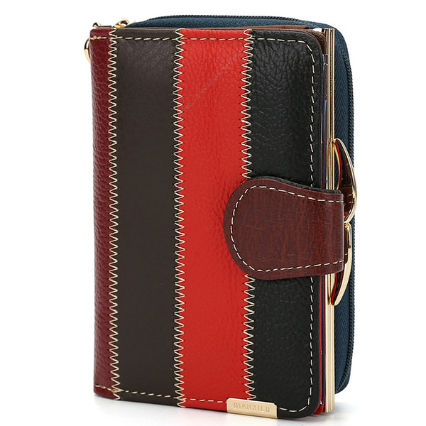Hot Sale Womens Wallets Brand Purses Female Short European and American Style Genuine Leather Wallet Ladies Wallet High Capacity