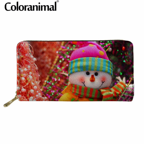 Coloranimal Leather Wallets Long Wallet Clutch Bag Christmas Tree Print Phone Card Wallets Pocket Coin Money PU Purse Tote Bag