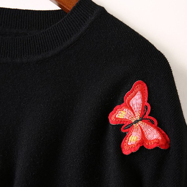 Zuolunouba 2018 New Arrival Office Lady Flat Knitted Woman Sweater Black Butterfly O-neck Slim Pullovers Embroidery Solid Casual