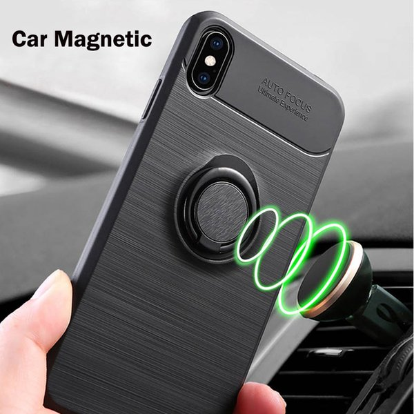 Brushed Design TPU Magnetic Ring Holder Cell Phone Cases For Samsung Galaxy S10 Plus A10 A30 A50 A70 Huawei P30 Pro Armor Case