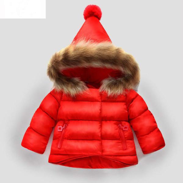 Ropa de bebé niñas algodón puro chaqueta de invierno piel de mapache lindo abrigo con capucha recién nacido con gusto cómodo