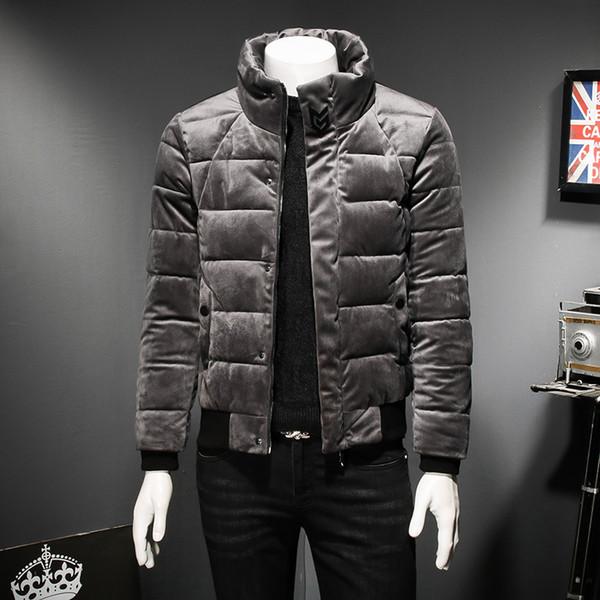 Chaqueta de invierno para hombre 2018 Moda Stand Collar Masculino Parka Chaqueta para hombre Chaquetas y abrigos gruesos sólidos Hombre Winter Parkas