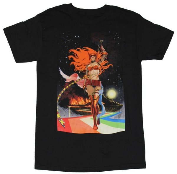 Angela (Marvel) Mens T-Shirt - Angela Whipping Red Hair Approaching From Asgard Fashion Men T Shirts Round Neck