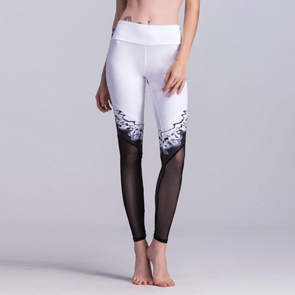 Thin Sports Leggings Joggers Woman Workout Running Wear Breathable Yoga Pants Black white contrast Ladies Pencil Skinny Trousers