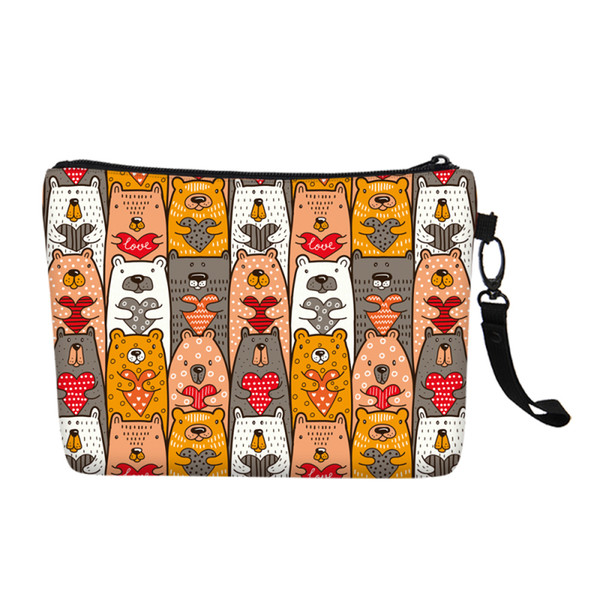 Fashion Design Women Canvas Cosmetic Bag Cute Bears Portable Toiletry Make Up Case Girls Accessories Travel Organizer Wash Pouch