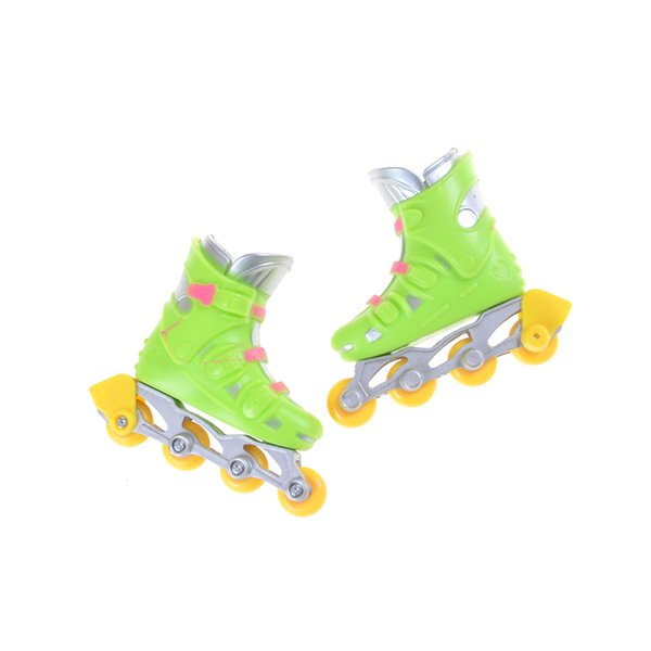 1Pair Cool Finger Roller Skates Toy Doll Accessories Zapatos Finger Roller Skates Deporte Juegos Kids Gift 6.5 x 6 x 2 cm