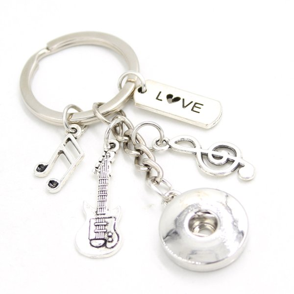 New Arrival DIY Interchangeable 18mm Snap Jewelry I love music Key Chain Bag Charm Music Note Guitar Key Ring for Music Lover Gift