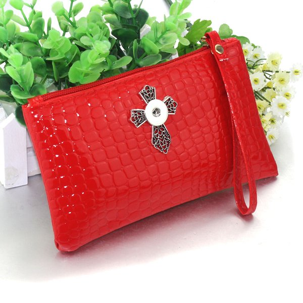leather Snap Button Bag Wallet Hold Snap Button 18MM Charms Fashion Jewelry For Women Mobile phone bag, purse 9074