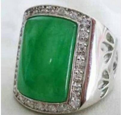Free ShippinG shipping> >>>Beautiful Tibet silver Green Men's Rings Size : 9-11# 5.24