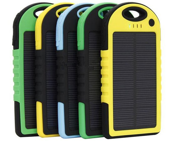 5000mAh Dual USB Port Solar Charger portable energy bank mobile power for cellphone PDA tablet PC iphone ipad samsung colorful