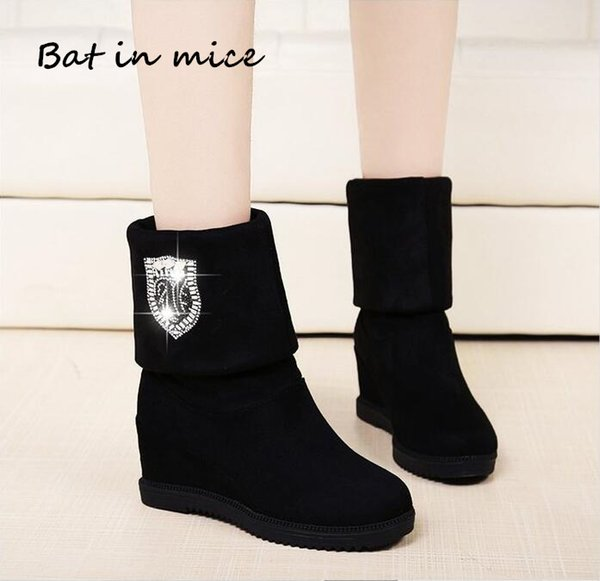 2019 2 style women boots Hot sale winter wedges boots high heels casual snow boots fashion snow botas shoes women Mujer zapatos A159