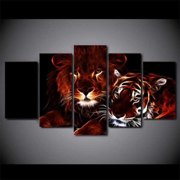 5 Pcs/Set Framed HD Printed glowing lion and tiger Wall Art Canvas Print Poster Canvas Pictures Abstract Oil Painting