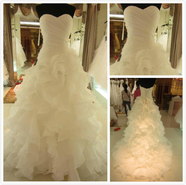 Top Luxury Strapless Tulle Mermaid Wedding Dresses Bridal handmade flower ball Gown Dress Wedding party Gauze Tulle Dress with big train W27