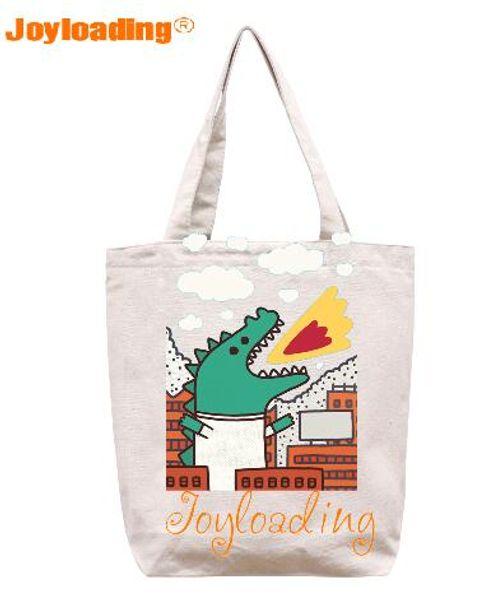 Joyloading Home Cartoon Dinosaur Design Reusable Grocery Tourists Shopping Bag Zipper Closure Foldable Tote Bag