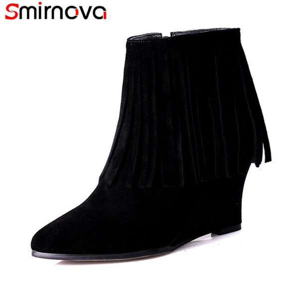 Smirnova 2018 new arrival suede leather boots pointed toe wedges high heels ankle boots solid black with fringe female