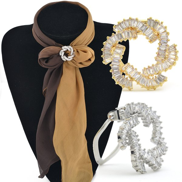High-end new scarf buckle wholesale Copper micro-inlaid zircon flower scarf buckle brooch dual-use clip