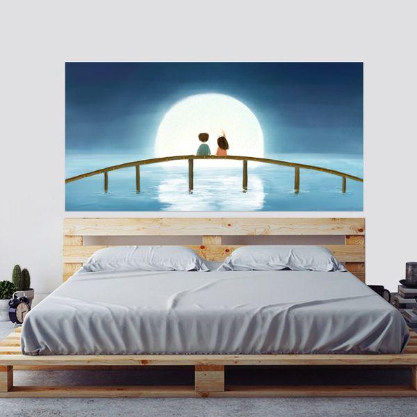 Kreative Bett Kopf Dekoration 3D Wandaufkleber Cartoon Mond Paar Muster für Schlafzimmer Dekor Große Größe DIY Wandbild Kunst Bild