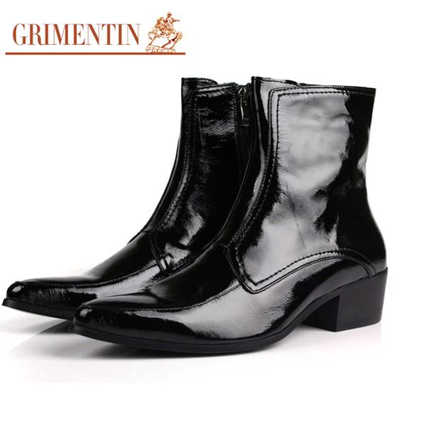 Stil Business Britischen Gummisohle Size38 Kurze GRIMENTIN Spitz Von Stiefeletten Männlich Herren Schuhe Lackstiefel Großhandel 2017 44 Schwarz q4cR3A5jL
