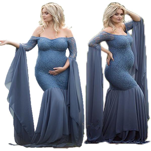 Femmes américaines européennes dentelle à manches longues Robe de grossesse Femmes enceintes Robe de grossesse Photographie Props Costume Robe de grossesse en dentelle