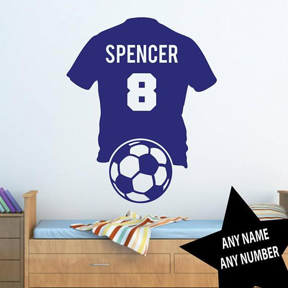 Football Shirt Personalised Name Number- Vinyl Wall Sticker Home Decoration For Kids Boys Room Removable Art Murals Gift YY701