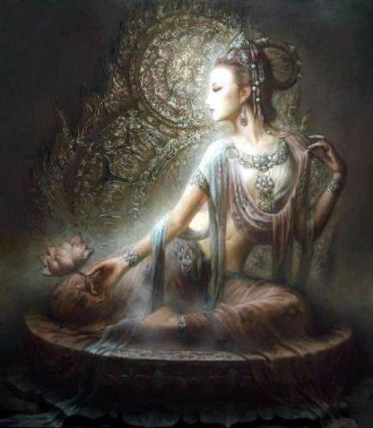 Agradável Chinês Dunhuang Kwan-yin deusa de Alta Qualidade Artesanato / HD Impressão retrato Arte pintura A Óleo Sobre tela, Multi tamanhos / Frame Opções DH60