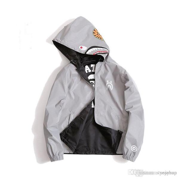 Mens Shark Hoodie Men Women Fashion Harajuku Cool Fun Reflective Light Sweater Jacket WGM Full Zipper Hoodie Fleece Cardigan Sweatshirts