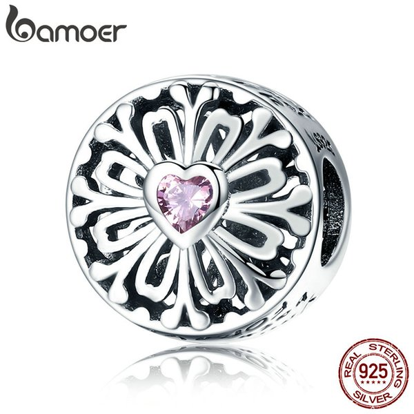 100% 925 Sterling Silver Flower of Friendship Rose CZ Charme Perles fit Femmes Charme Bracelets DIY Bijoux Fabrication de Cadeaux