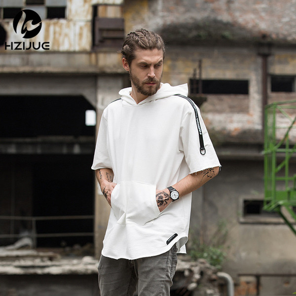 HZIJUE summer small hoodies fashion men hip hop hooded Oversized High quality long hem male T shirts street wear with a hat tops