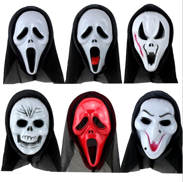 Halloween Costume Party Long Face Skull Ghost Scary Scream Mask Face Hood  Scary Horror Terrible Mask With Hood Masquerade White Mask Masquerades  Masks