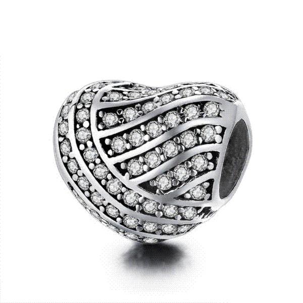 12 Estilo Auténtico Plata de Ley 925 en Forma de Corazón Granos del Encanto Fit pandora Charm Bracelet DIY Joyería de Plata Original