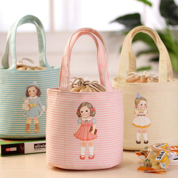 Cute Canvas Cartoon Girl Lunch Bags Portable Storage Bags Thicker Insulation Bags Handbags Waterproof Free Shipping ZA6847