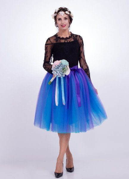 Por encargo 7 capas Midi Falda de tul Vestidos de dama de honor Princesa Vestidos de baile Faldas Tutu Vestidos de fiesta de bodas Vestido de noche TU0019