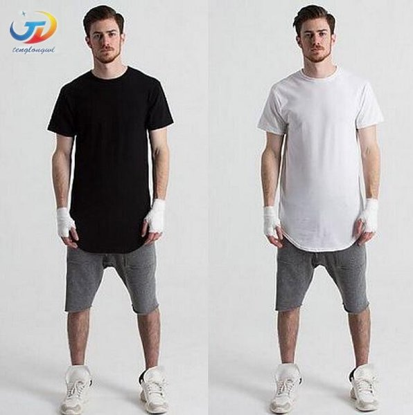Tenglongwl erkek T Gömlek Genişletilmiş T-Shirt erkek giyim Kavisli Hem Uzun çizgi Tees Tops Hip Hop Kentsel Boş t Shirt