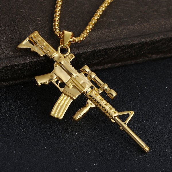 High grade jewellery authentic 18K Gold sniper model male / female fashion hip hop Necklace sweater chain A178#