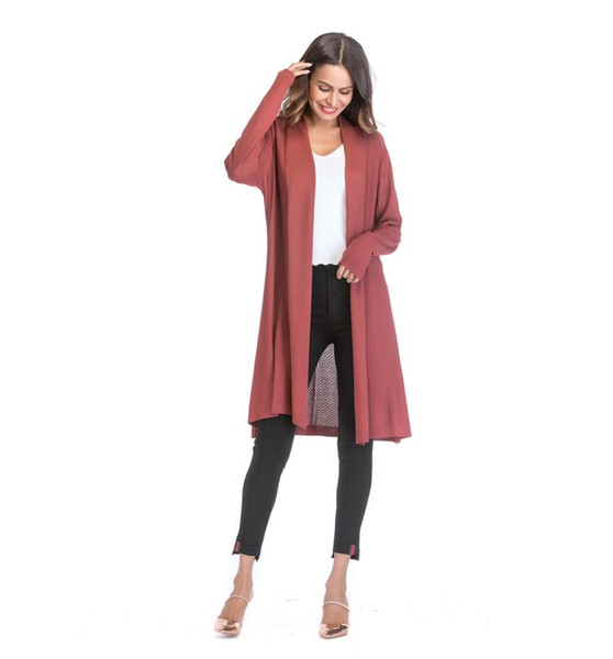 Amazon Wish Hot Sale Women's Wear Europe and America Thin Hollowed-out Knitted Shirt Solid Color Vertical Cardigan Jacket