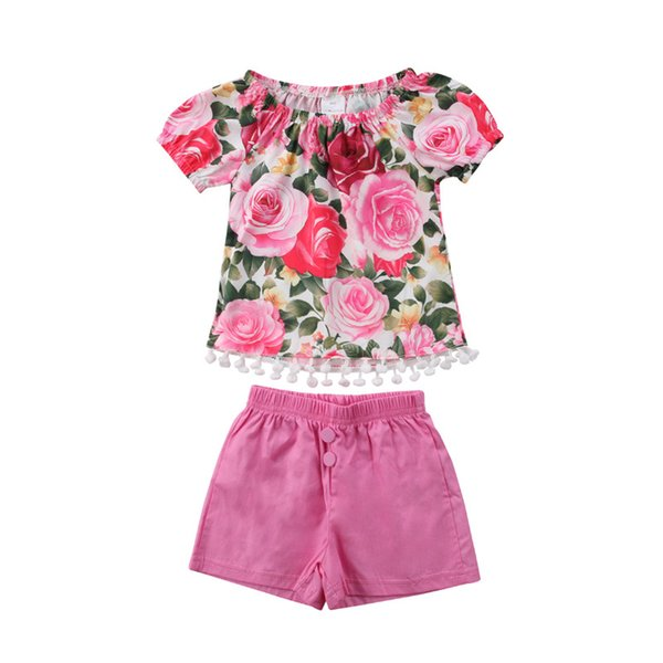 Pretty Baby Girls Clothes Set 2018 Summer Kids Girls Floral Tassel Ball Tops T-shirt+Short Pants 2Pcs Outfits Baby Girl Clothes