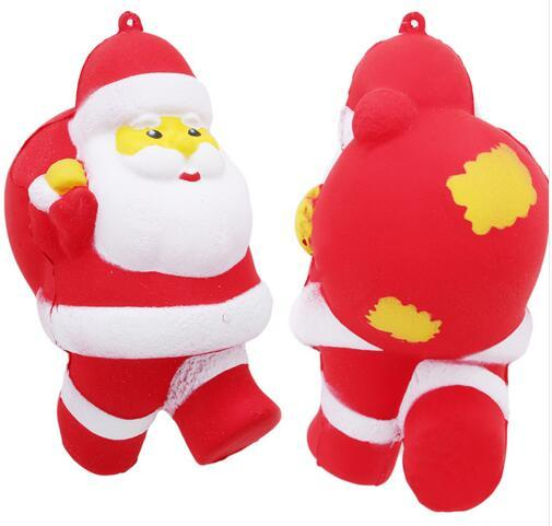 Free Ship 10pcs 12*7.5*6.5cm Cartoon Santa Claus Squishies Slow Rising Anti Stress Toys Father Cell Phone Strap Pendant Soft Christmas gifts