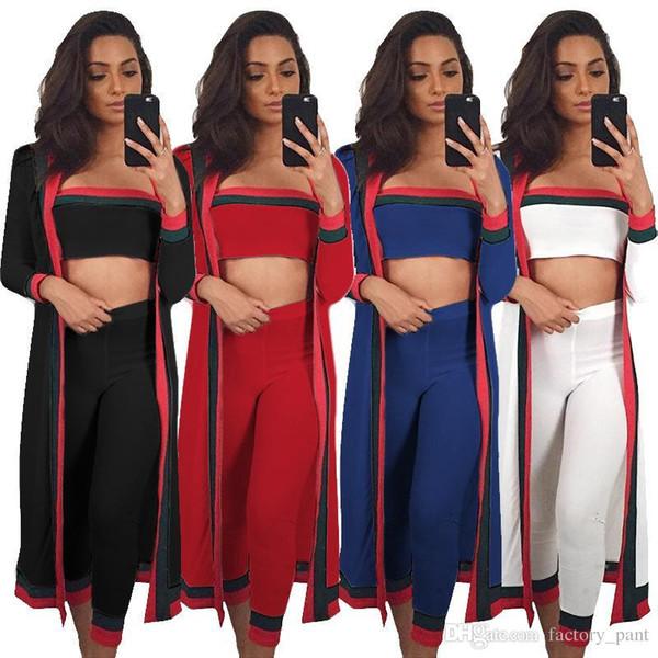 2018 Sommer Frau 3 Stück Sets lange Hosen BH Crop Top heraus Graben Femme Bodycon Sexy Striped Club dünne Dame Outfits 3XL